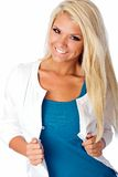 Blonde beauty. Lovely eighteen year old blonde woman poses wearing casual outfit Stock Photography