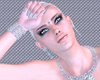 Blonde beauty against a diamond and silver abstract background. Royalty Free Stock Images