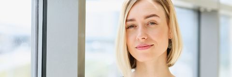 Blonde beauty business woman portrait look Royalty Free Stock Photos