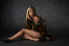 Blonde Beauty in Fur Coat Royalty Free Stock Photography