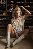 Blonde Beauty In Garage Stock Photos