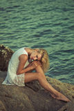 Blonde beauty posing in paradise Stock Image