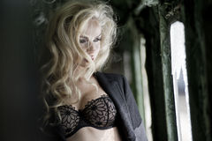 Blonde beauty posing in train Stock Photography