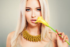 Blonde Beauty. Pretty Woman Fashion Model Royalty Free Stock Photos