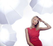 Blonde beauty wearing red dress Royalty Free Stock Photos