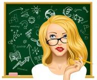 Blonde bedrijfsvrouw in glazen dichtbij het bord stock illustratie
