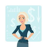 Blonde bedrijfsvrouw, glimlachend karakter op grafiekachtergrond Stock Afbeelding