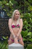 Blonde behaarte Frau in einem Druckbadeanzug Lizenzfreies Stockfoto