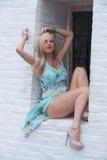 Blonde behaarte Frau in einem Druckkleid Lizenzfreie Stockbilder