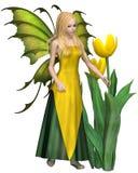 Blonde behaarte gelbe Tulip Fairy Lizenzfreies Stockfoto
