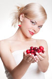 Blonde with berries Stock Photography