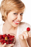 Blonde with berries. healthy meal Royalty Free Stock Photo