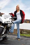 Blonde Biker Girl Stock Photo