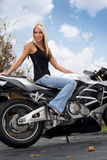 Blonde Biker Girl Stock Photography
