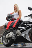 Blonde Biker Girl Stock Image