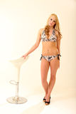 Blonde Bikini Model. Beautiful Young Female Model in Isolated Studio Setting Stock Images