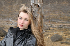 The blonde in black Stock Image