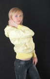 Blonde on a black background Stock Image