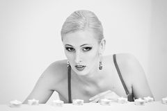 Blonde in a black bra Royalty Free Stock Images