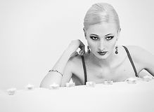Blonde in a black bra Royalty Free Stock Photography