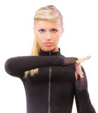 Blonde in black clothes blindly Stock Images