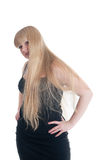 Blonde in black dress Royalty Free Stock Images