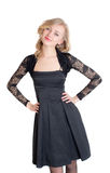 Blonde in a black dress Royalty Free Stock Photos