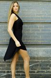 Blonde in Black Dress Royalty Free Stock Image