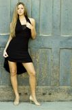 Blonde in Black Dress Royalty Free Stock Photo