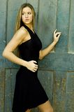 Blonde in Black Dress Royalty Free Stock Photos