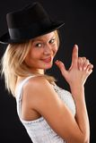 Blonde in black hat. Royalty Free Stock Photography