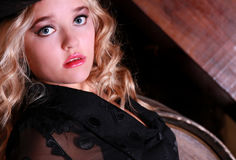 Blonde in black lingerie Royalty Free Stock Photography