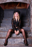 Blonde in black lingerie Royalty Free Stock Image