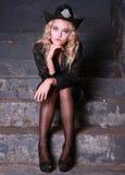 Blonde in black lingerie Stock Images