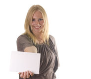 Blonde with blank card Royalty Free Stock Images