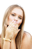 Blonde blowing kiss Stock Image
