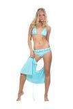 Blonde in blue bikini Royalty Free Stock Photos