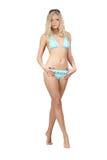 Blonde in blue bikini Stock Photos
