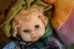 Blonde Blue Eyed Doll. Vintage plastic doll Stock Image