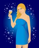 Blonde in the blue Stock Photo