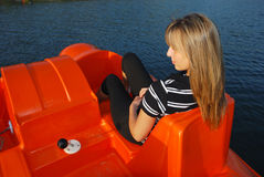 Blonde boating Stock Photography