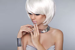 Blonde Bob Hairstyle. Fashion beautiful young girl in luxurious Royalty Free Stock Images