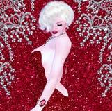 Blonde Bombe auf rotem Funkeln- und Diamanthintergrund Stockfoto