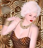 Blonde bombshell on brown glitter and bronze swirl background. Royalty Free Stock Photos