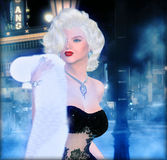 Blonde bombshell on a foggy street in a city. Black outfit with white fur shawl and an eerie background. This classic blonde poses in a white fur and diamonds Royalty Free Stock Photo