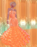 Blonde bombshell in a peach evening gown against a matching abstract background with glowing lights. A beautiful diamond necklace and matching earrings stock illustration