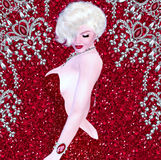 Blonde bombshell on red glitter and diamond background. This classic blonde bombshell stands and poses dazzles Hollywood with her red, couture fashion dress Stock Photo
