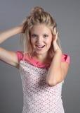 Blonde bonito surpreendido. Fotos de Stock Royalty Free