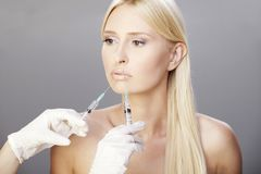 Blonde and botox injections 2 Royalty Free Stock Images