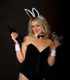 Blonde with a bottle of wine and glasses Royalty Free Stock Image